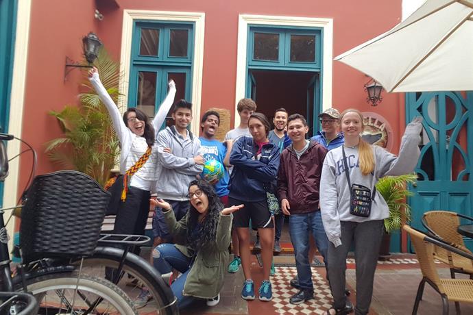 2017 Youth Venture team to Peru. Front: Mariana Cardenas. Middle (L-R): Lizzy Diaz (team leader), Francisco Javier Nates, Biz Bomberger, Alesandra Haraguchi, Juan Esteban Herrera, Allison Shelly. Back (L-R): Jack VonGunten, Juan Pacheco Lozano (team leader), Jacob Myers.