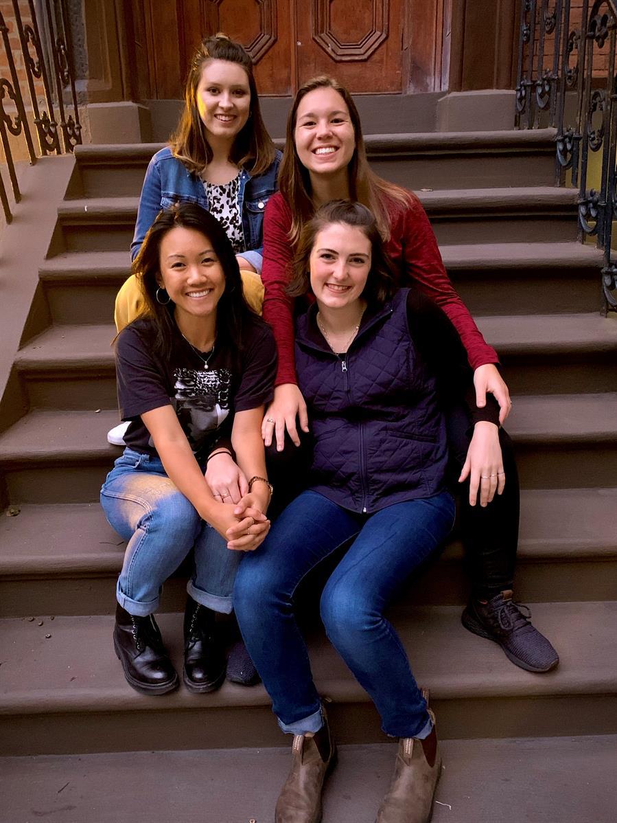 The 2019-2020 Manhattan, New York MVS unit (L-R): (backrow) Hannah Brown, Kylee Schunn, (front row) Anh Nguyen, Laura Ayres