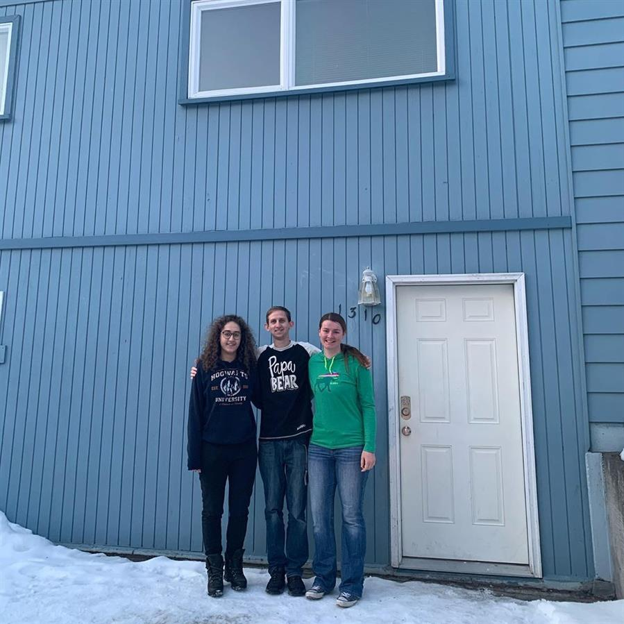 The 2019-2020 Anchorage, Alaska Service Adventure unit: Salome Preisendanz, Michael Oyer (unit leader) and Bethany Masters.