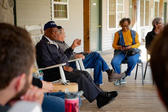 Dr. Charles Johnson spoke to the group at Pine Lake Fellowship Camp in Meridian, Mississippi about his experiences as a local Civil Rights activist.